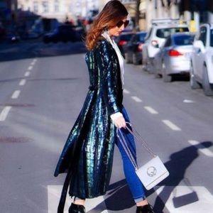 Zara sequin and velvet belted kimono NWT